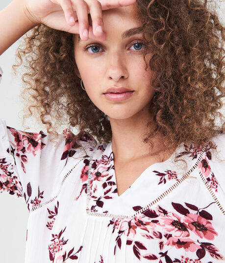 Long Sleeve Floral Pleated Top