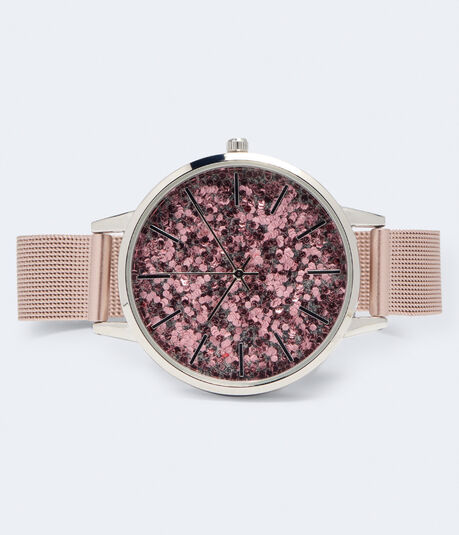 Metal Mesh Glitter Analog Watch
