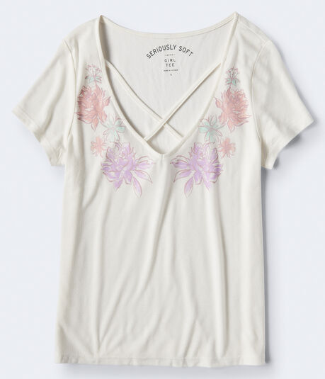 Seriously Soft Floral Crisscross Girl Tee