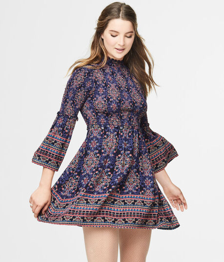 Ornate Print Mock-Neck Smocked Fit & Flare Dress