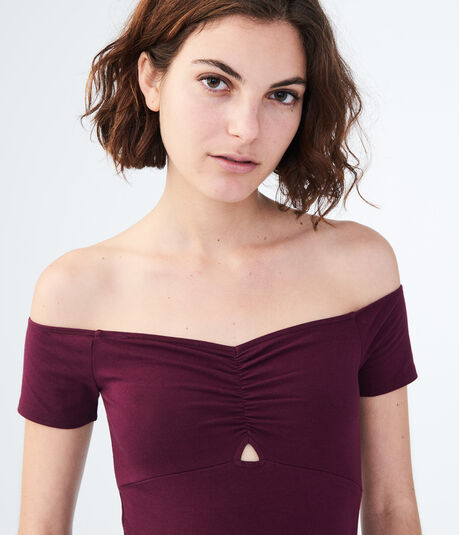 Solid Keyhole Off-The-Shoulder Bodycon Top