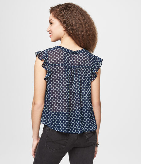 Patterned Flutter Sleeve Sheer Top