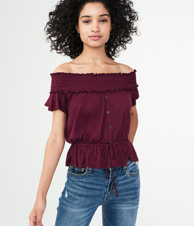 Solid Off-The-Shoulder Peasant Top