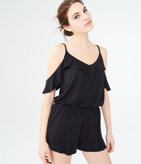 Solid Ruffled Cold-Shoulder Romper