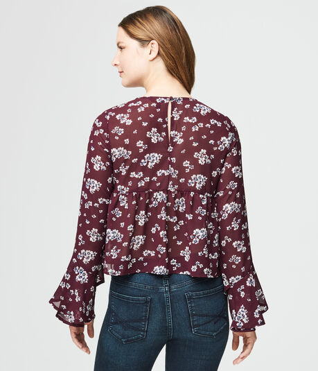 Long Bell Sleeve Floral Empire-Waist Top