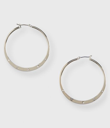 Faux Gem Hoop Earrings