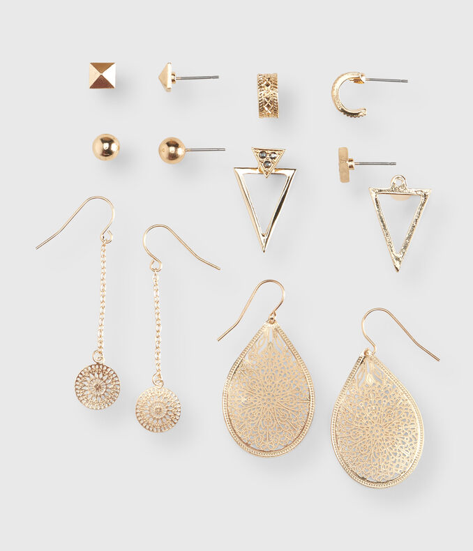 Pyramid Stud & French Wire Earring 6-Pack