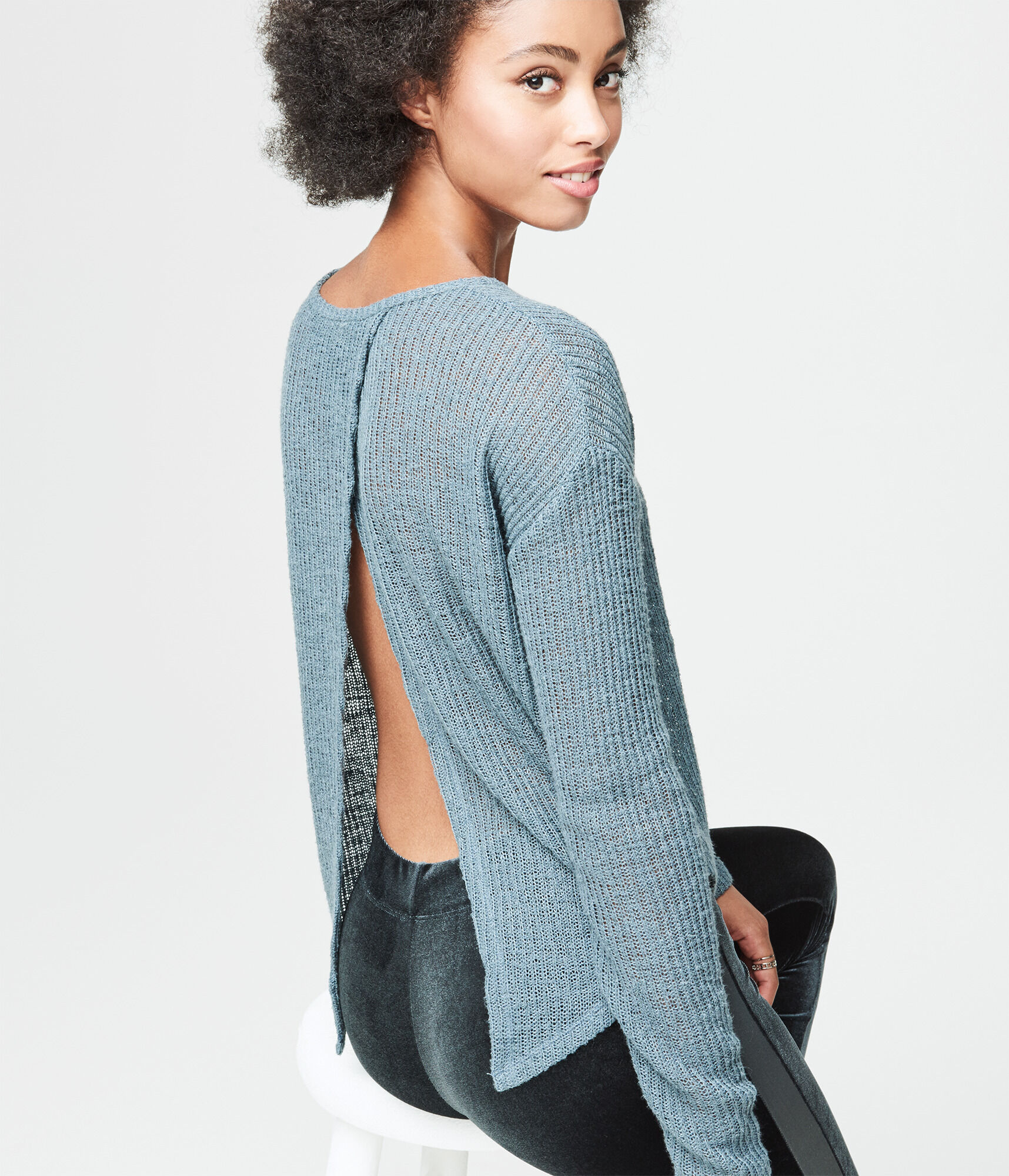 solid cross back sweater