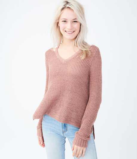 Solid Notch-Shoulder Sweater