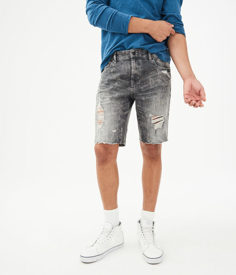 Grey Wash Destroyed Stretch Denim Cutoff Shorts