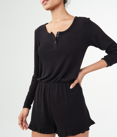 LLD Long Sleeve Henley Romper***