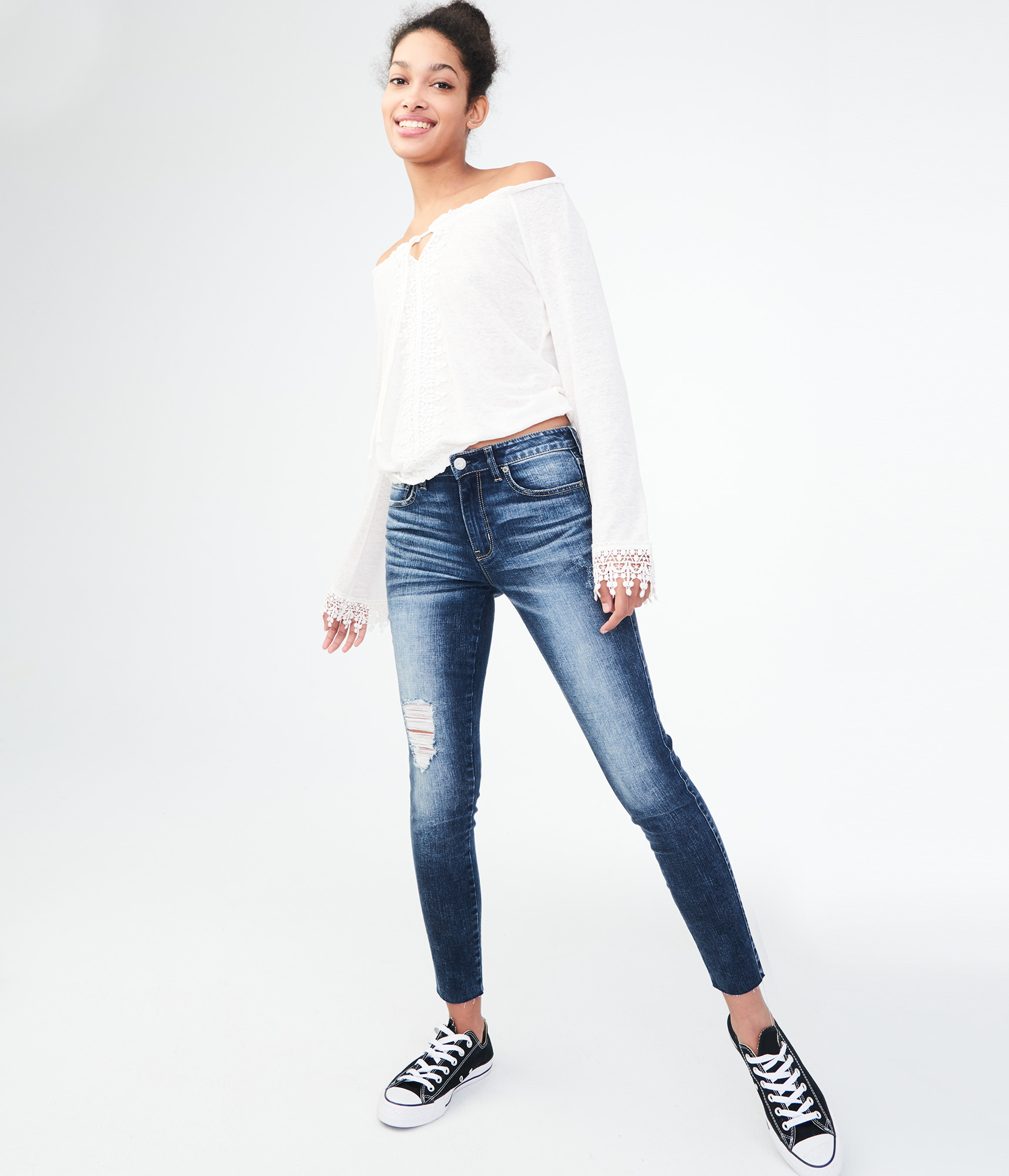 Aeropostale Seriously Stretchy High-Waisted Ankle Jegging - Dark Wash, 10 R