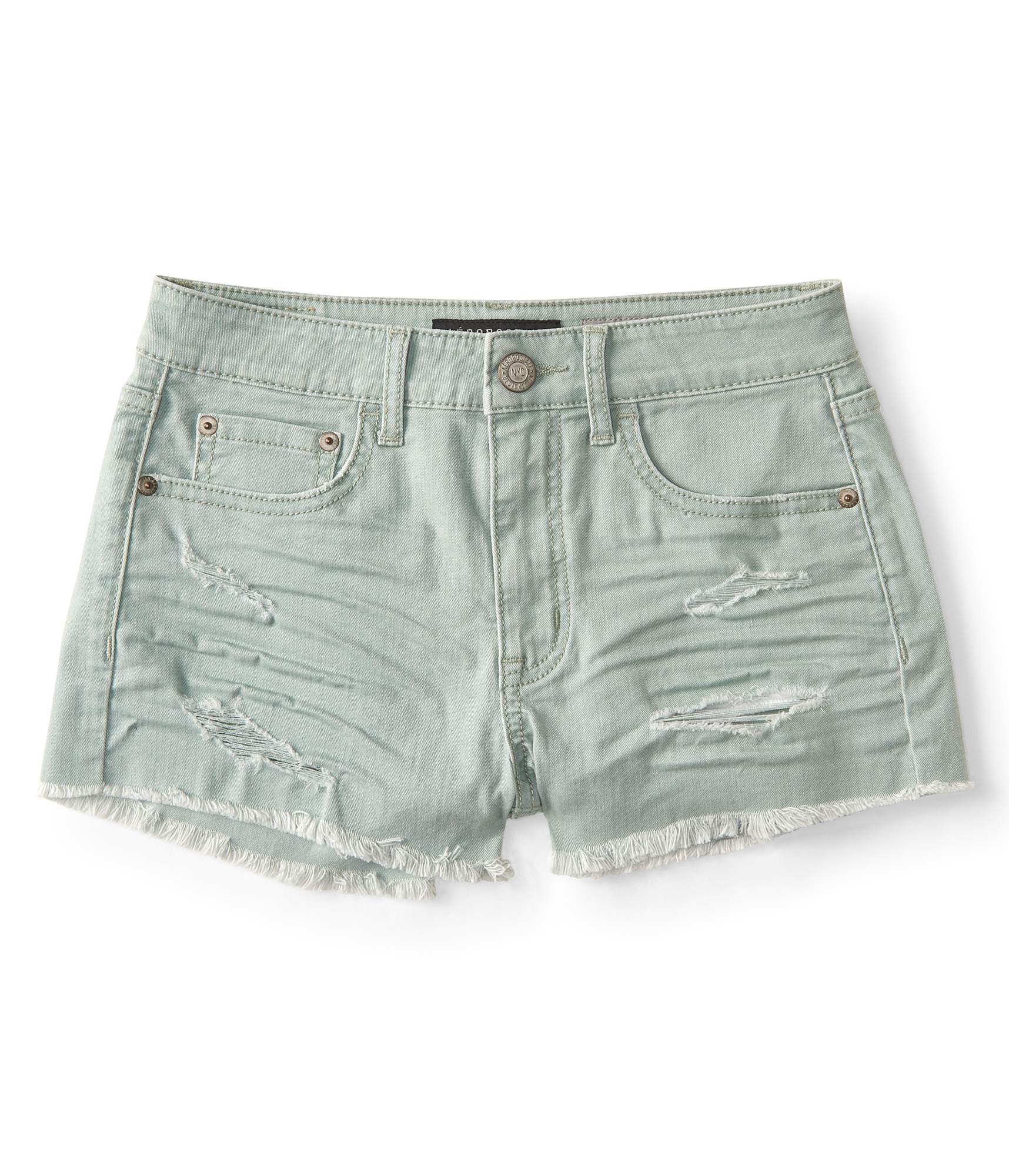 Aeropostale Seriously Stretchy High-Waisted Color Wash Denim Shorty Shorts - Light Green, 000