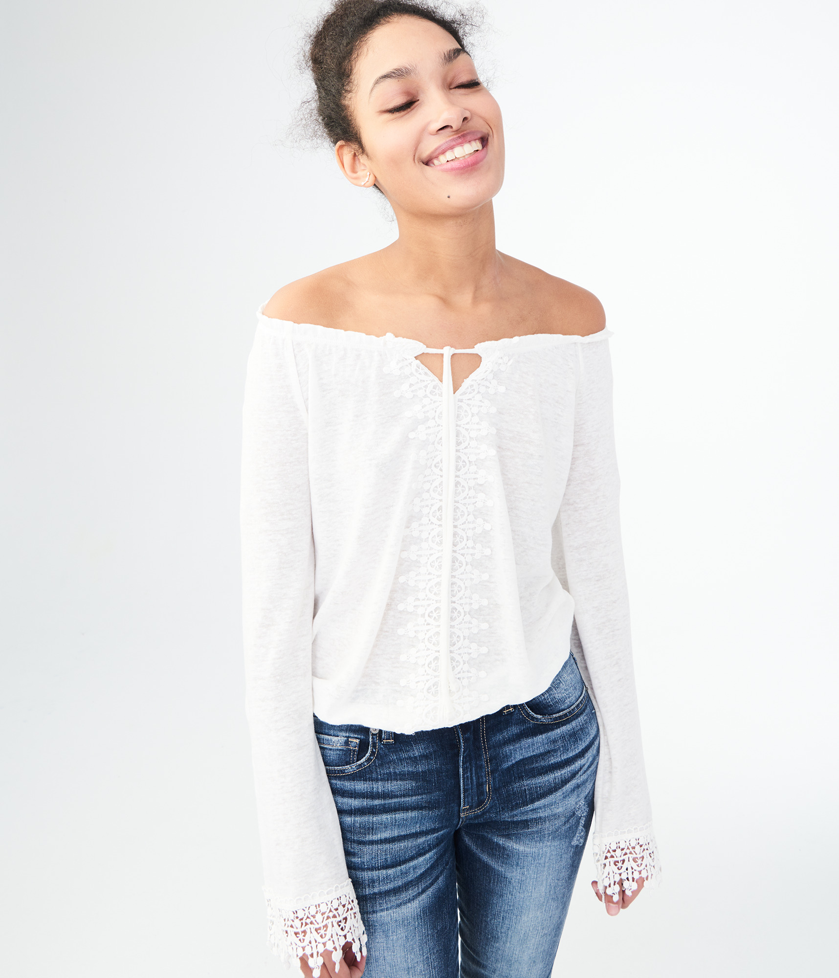 Aeropostale Long Sleeve Lacy Peasant Top - Floral White, Small