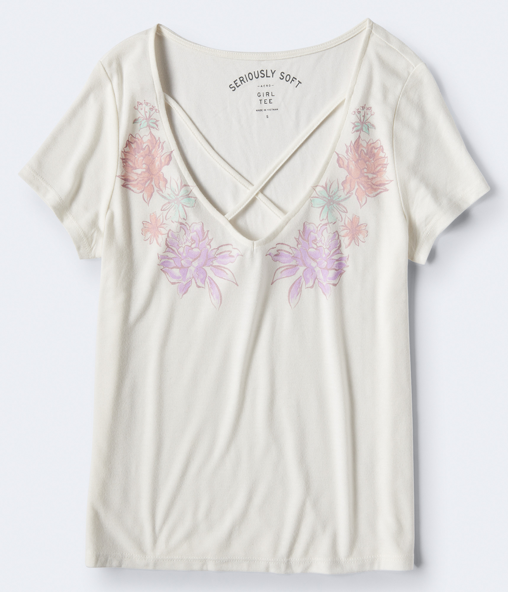 Aeropostale Seriously Soft Floral Crisscross Girl Tee - Floral White, Large