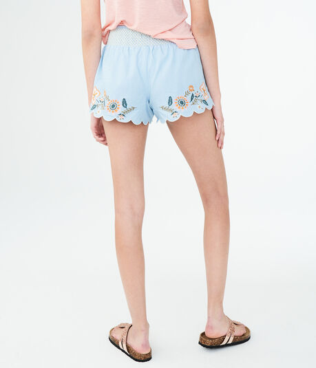 Embroidered Chambray Shorts