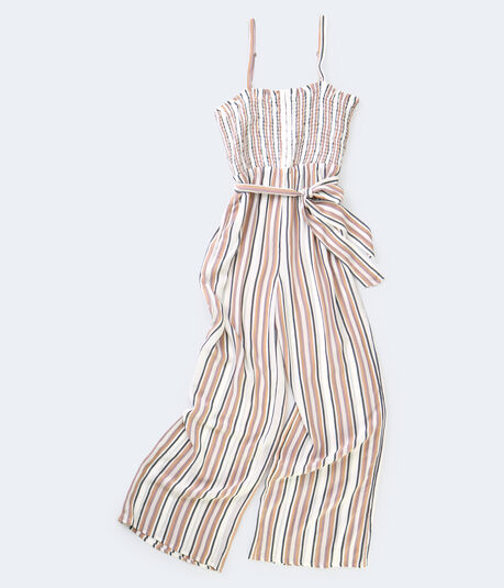 Striped Smocked-Bodice Jumpsuit