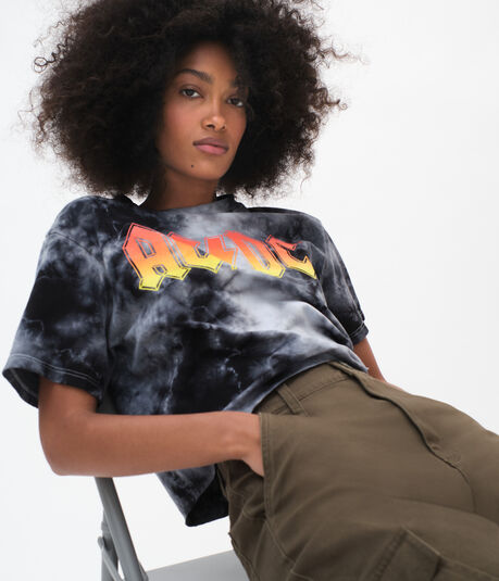 AC/DC Tie-Dye Cropped Graphic Tee