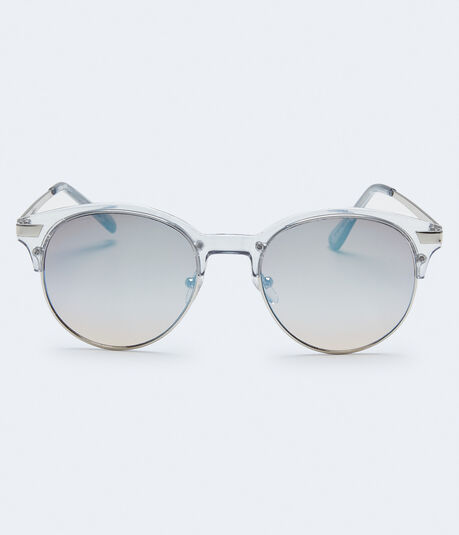 Clear Round Mirrored Lens Sunglasses