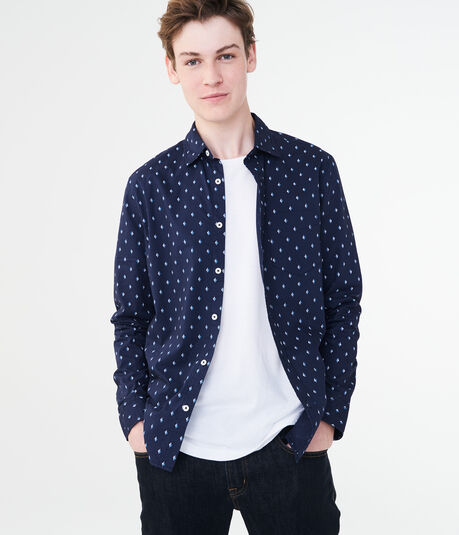 Long Sleeve Diamond Dot Woven Shirt