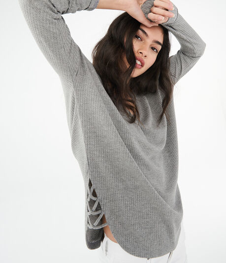 LLD Long Sleeve Thermal Lattice-Side V-Neck Tee