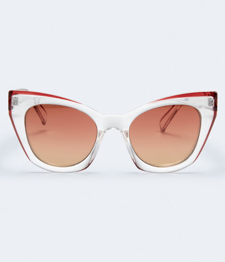 Chunky Cateye Mirrored Sunglasses