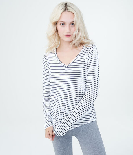Long Sleeve Seriously Soft Striped V-Neck Tee