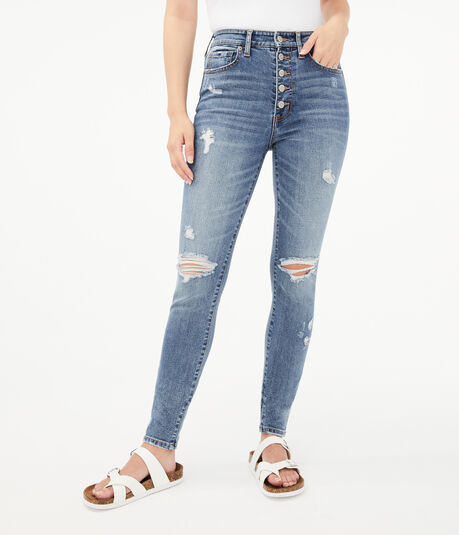 Seriously Stretchy Super High-Rise Buttoned Ankle Jegging