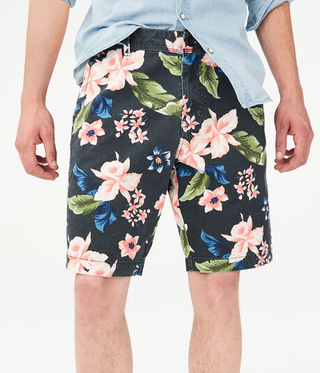 "Tropical Floral 9.5"" Stretch Shorts"