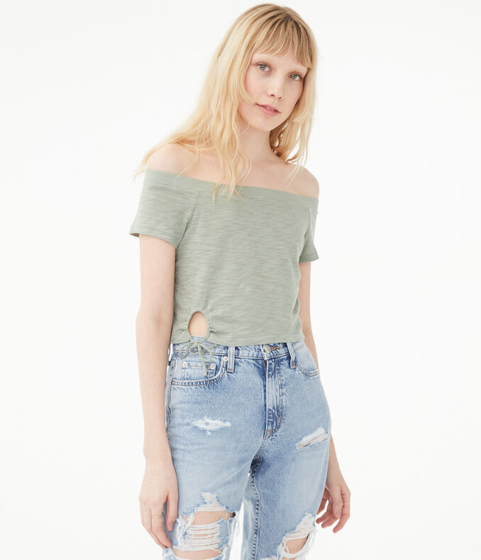 Tie Keyhole Off-The-Shoulder Top