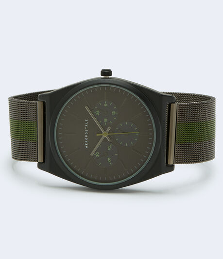 Striped Metal Mesh Watch