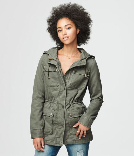 Hooded Cinched-Waist Parka