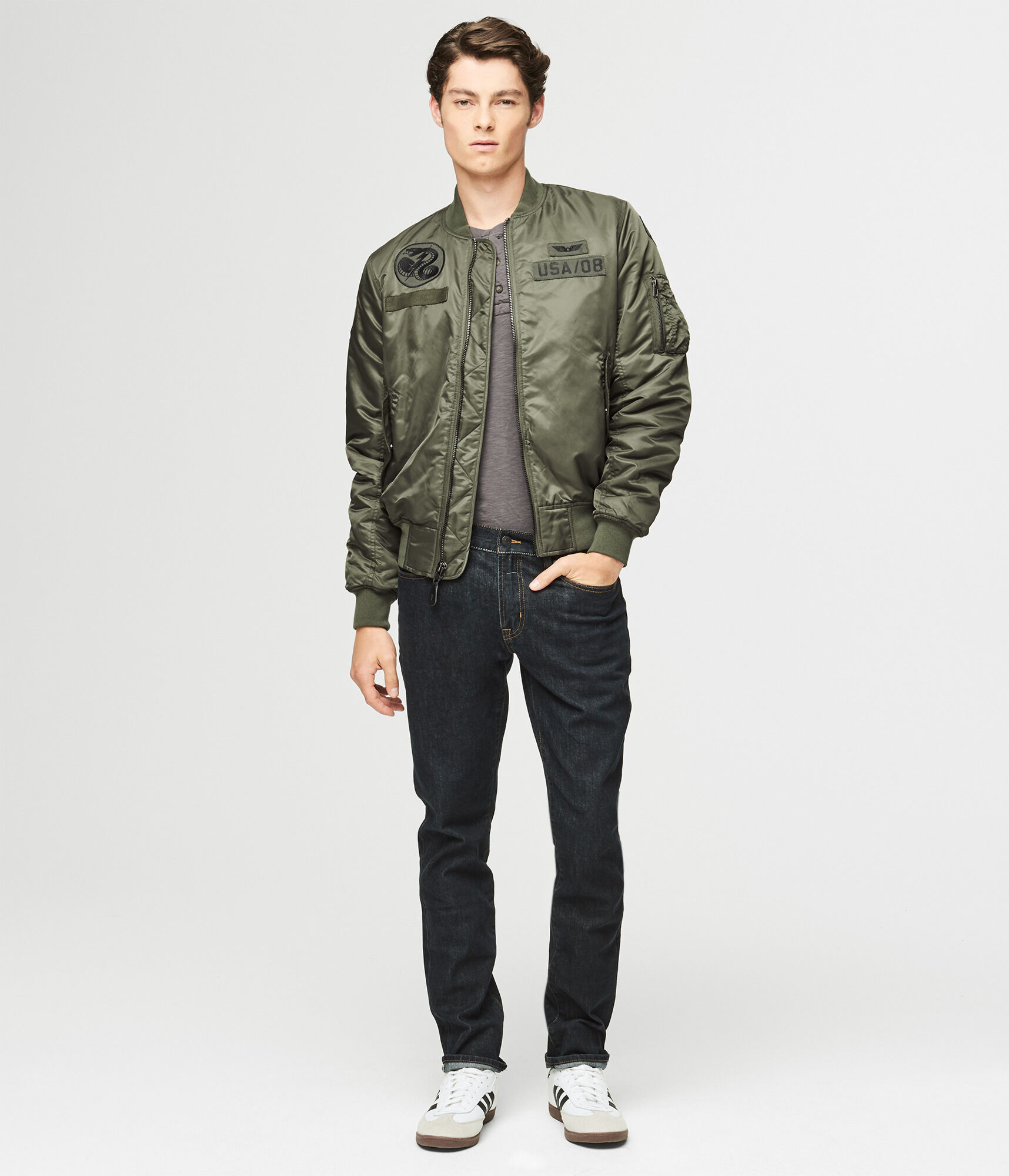 9f3d4ee11 Military Patch Bomber Jacket
