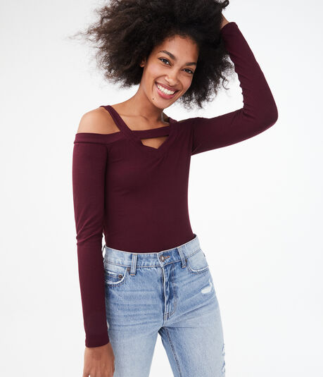 Long Sleeve Seriously Soft Cutout Cold Shoulder Bodycon Top