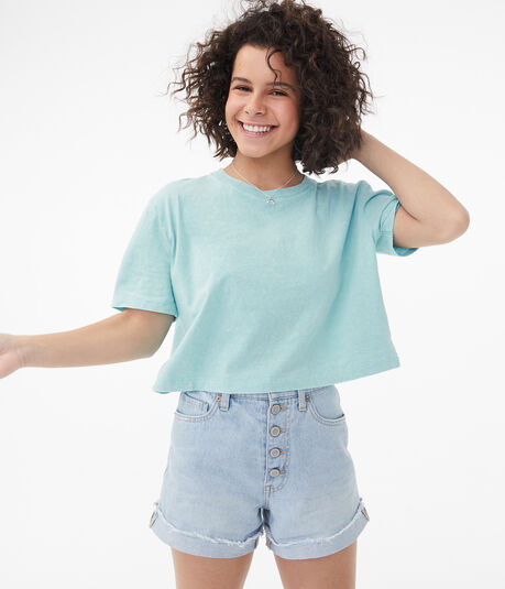 Acid Wash Cropped Boxy Crew Tee