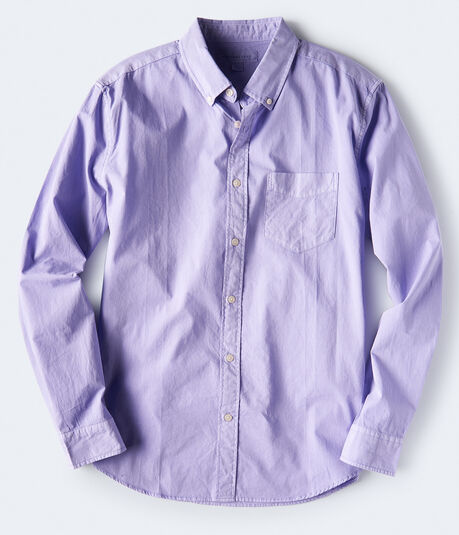 Long Sleeve Solid Yarn-Dyed Woven Shirt
