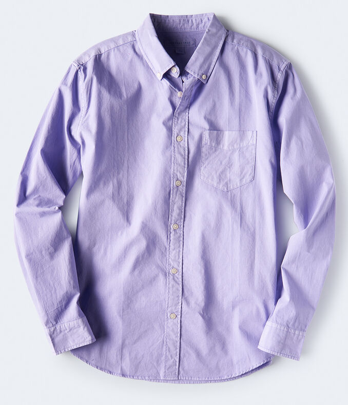 Long Sleeve Solid Garment Dyed Woven Shirt