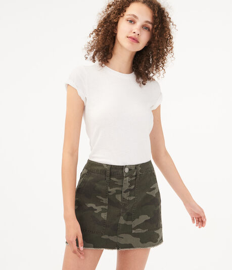 Camo Twill Utility Mini Skirt
