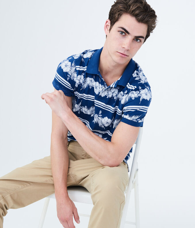 Hibiscus Stripe Jersey Polo