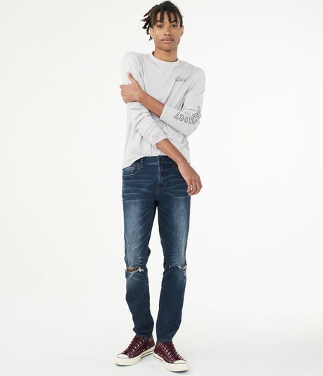 Flex Effects Super Skinny Dark Wash Destroyed Jean