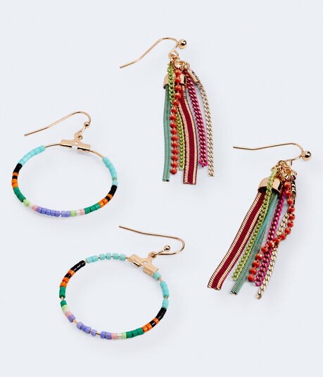Tassel & Seed Bead French Wire Earring 2-Pack