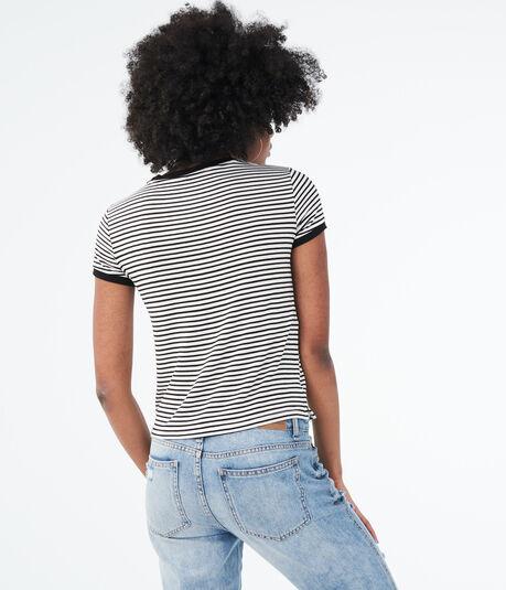 Striped Ringer Girl Tee