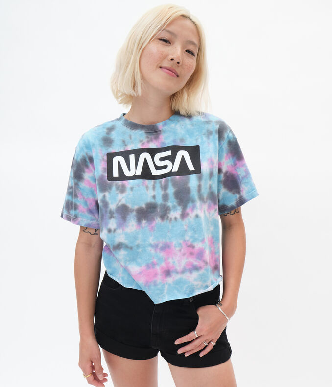 NASA Tie-Dye Cropped Graphic Tee