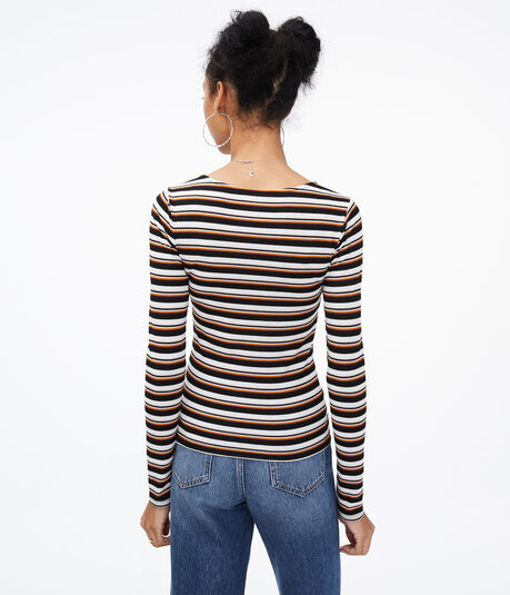Long Sleeve Seriously Soft Striped Strappy Bodycon Top