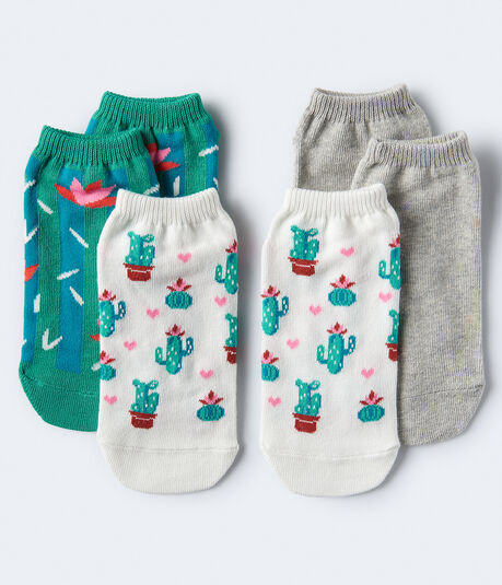 3-Pack Cactus & Solid Ankle Socks