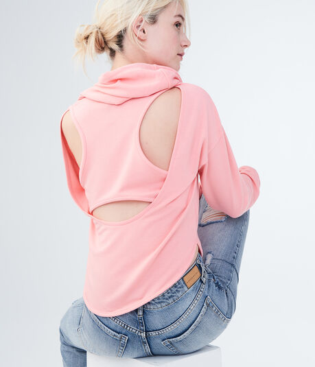 LLD Solid Cutout-Back Pullover Hoodie