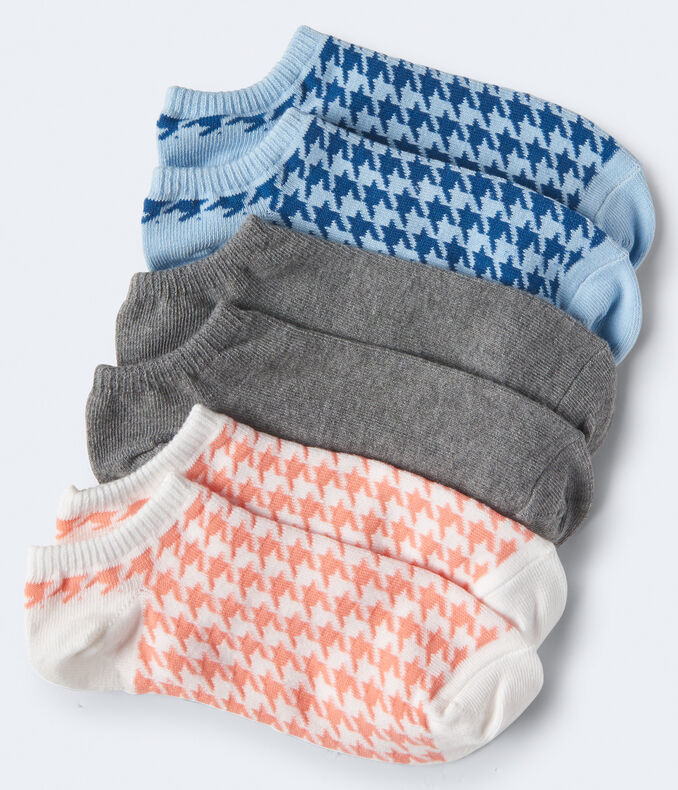3-Pack Houndstooth & Solid Ankle Socks