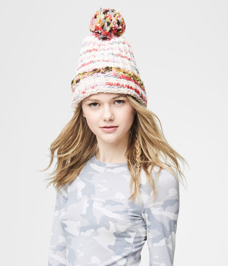 Chunky Light Stripe Marled Knit Hat