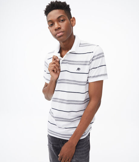 Heathered Stripe Jersey Polo