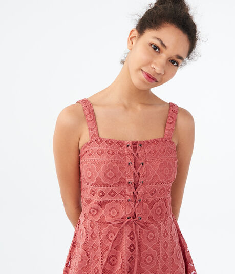Solid Square Neck Lace Fit Amp Flare Dress